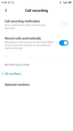 צילום מסך הגדרות הקלטת שיחה בשיאומי (הקלטת שיחות מובנית)