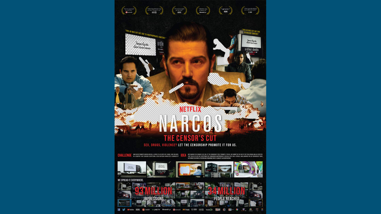 Wunerman Thompson Thailand Work Narcos CASE BOARD NARCOS THE CENSORS CUT
