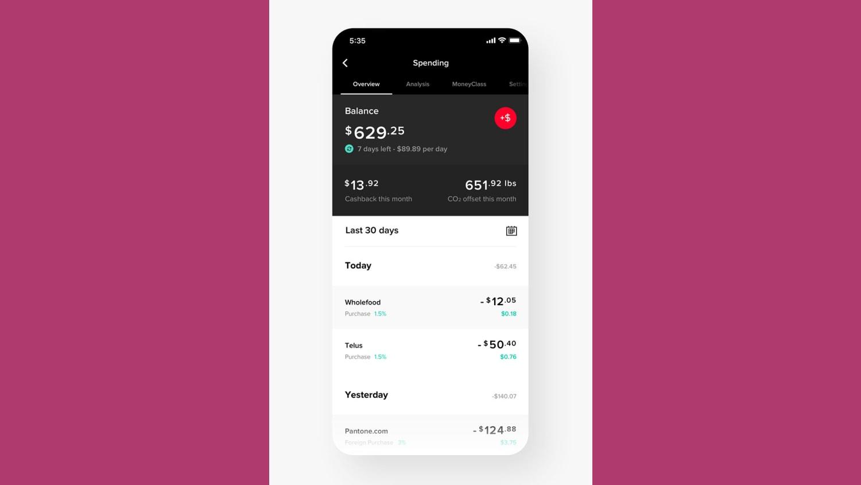 WEB Mogo Spend dashboard UI
