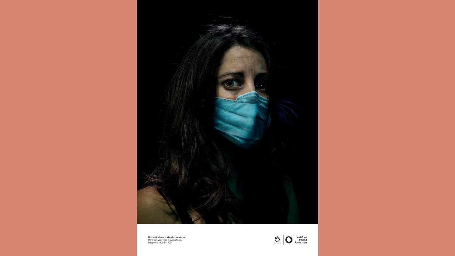 Hidden Pandemic Womens Aid print add showing womans face with mask