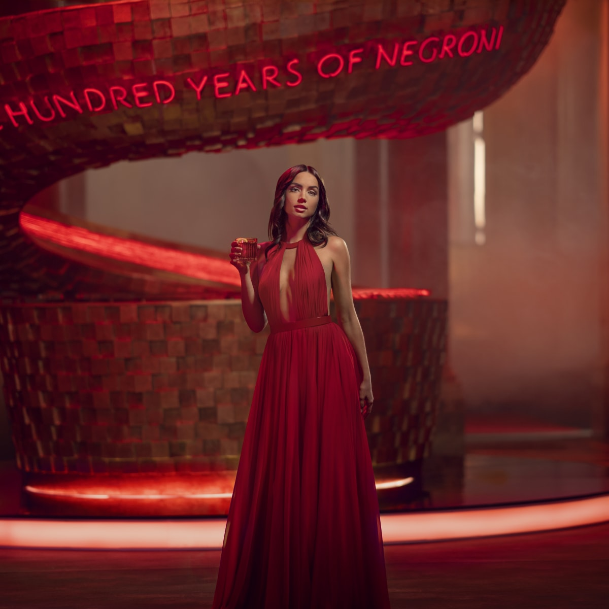 Lady in red dress for Campari Red Campaign