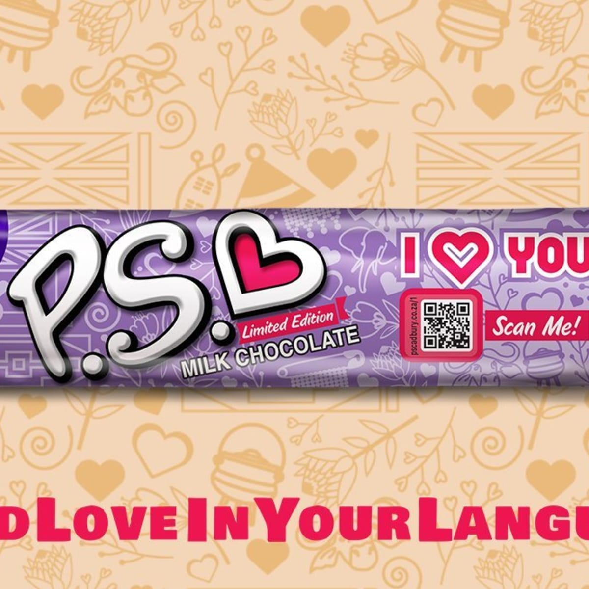 Cadbury P S LIMITED edition I Love You bars in the different South African languages
