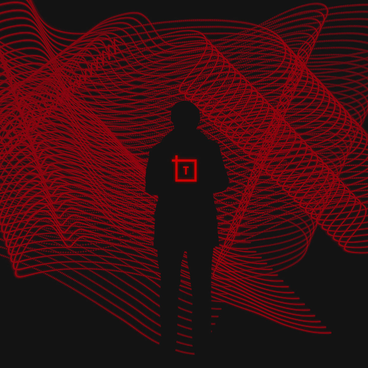 silhoutte of person with Transform logo on red background