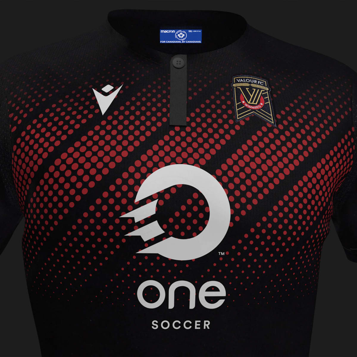 Black background with a shot of a red with black stripped shirt with  One Soccer white circle logo on it.