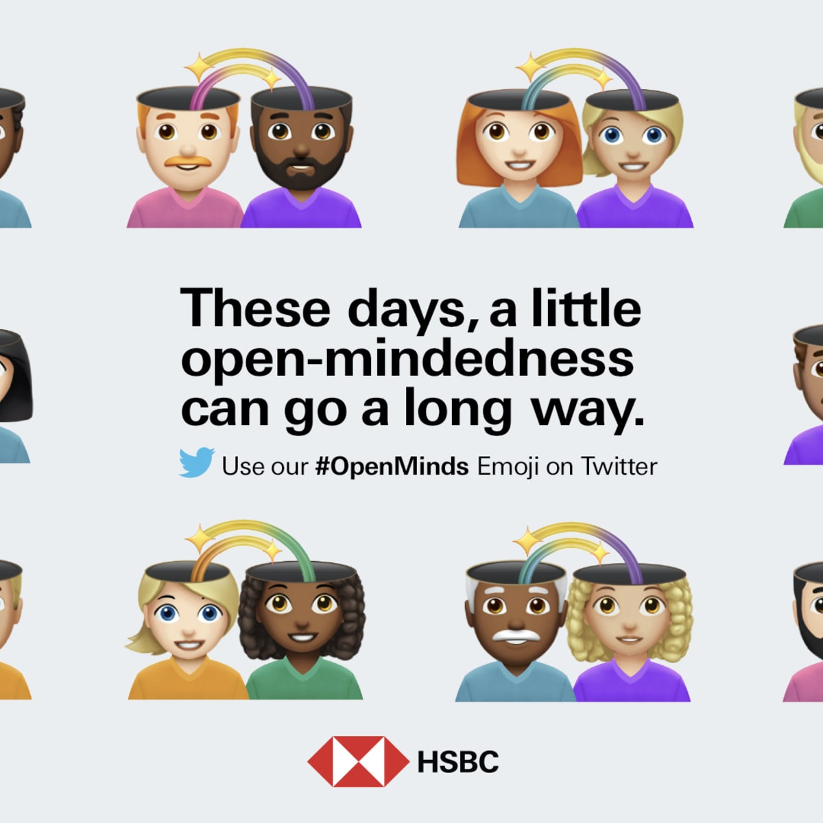 "White background with emojis of various couples. HSBC logo at the bottom. In the middle text ""These days, a little open-mindedness can go a long way. Twitter logo underneath."