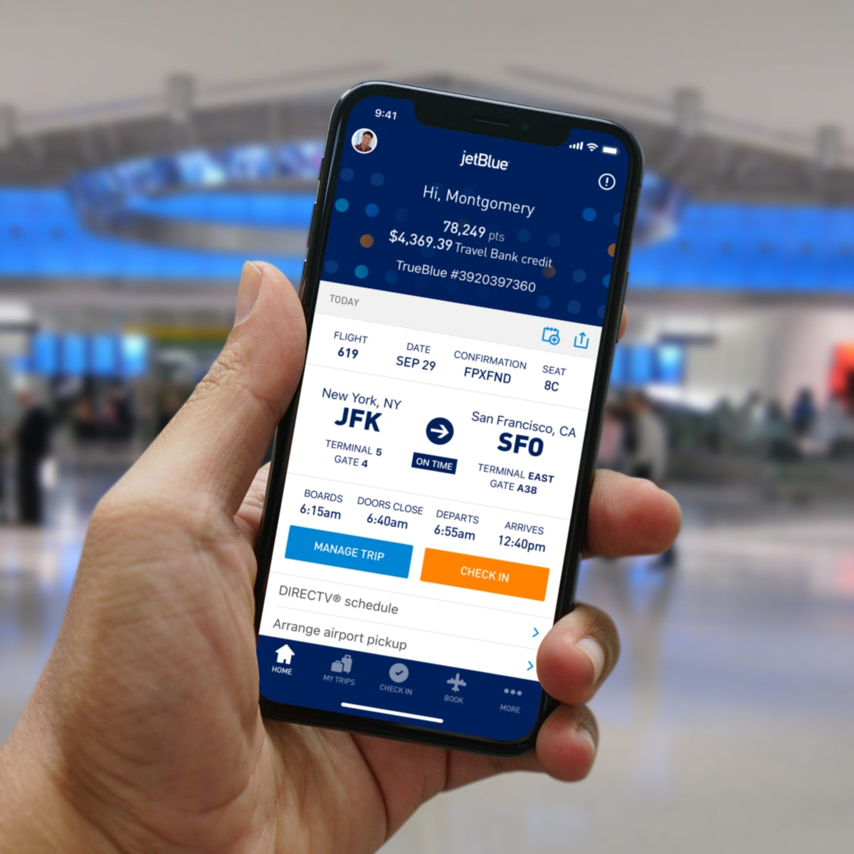 mobile screen showing Jet Blue travel app