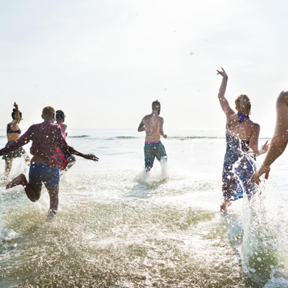people having fun bathing