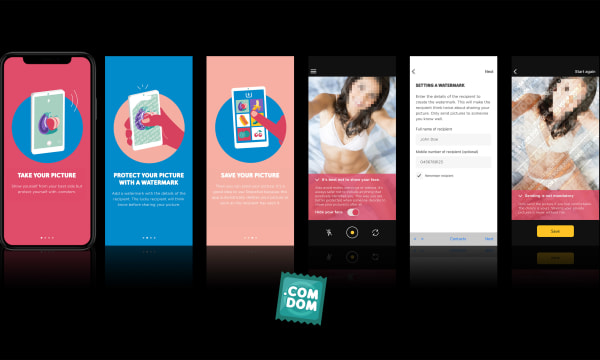 five different .comdom App Frames on mobile phone screens