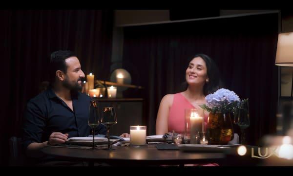 Indian actor Saif Ali Khan with actress wife Kareena Kapoor Khan dining together at home