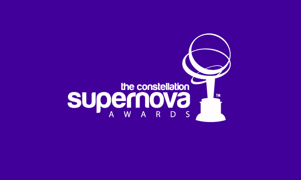 White Supernova Logo with Purple Background