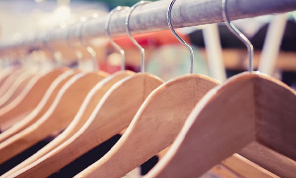 Hangers on a clothesline