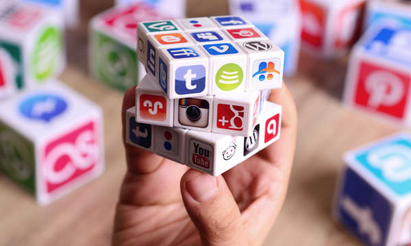 cube showing social media channel icons