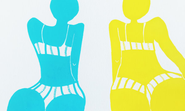 illustrations of two women in bikini's. One is yellow and the other blue.