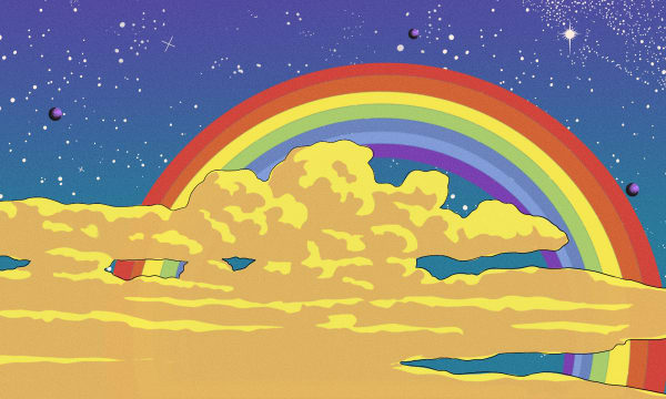 Print of clouds in front of rainbow with starry background