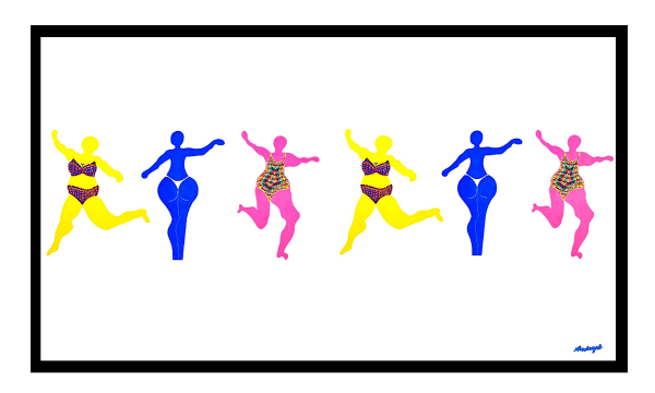 Illustrations of 6 women win bikinis dancing. They are pink, blue and yellow.