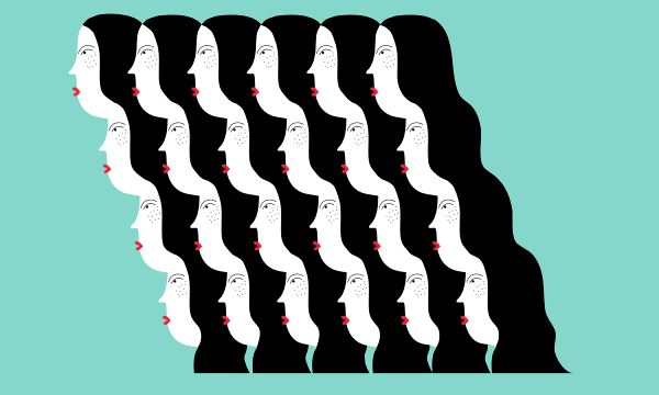 Women's faces linked by hair.
