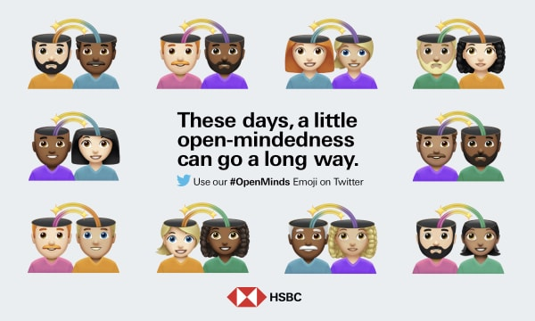 """White background with emojis of various couples. HSBC logo at the bottom. In the middle text """"These days, a little open-mindedness can go a long way. Twitter logo underneath."""