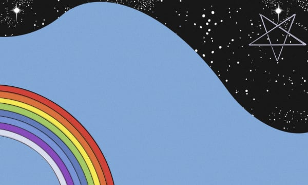 Illustration of rainbow with sea behind and stars in background.