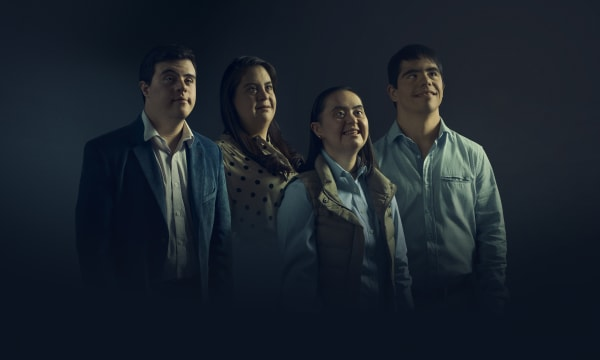 four people with Down Syndrom for a health campaign in Colombia