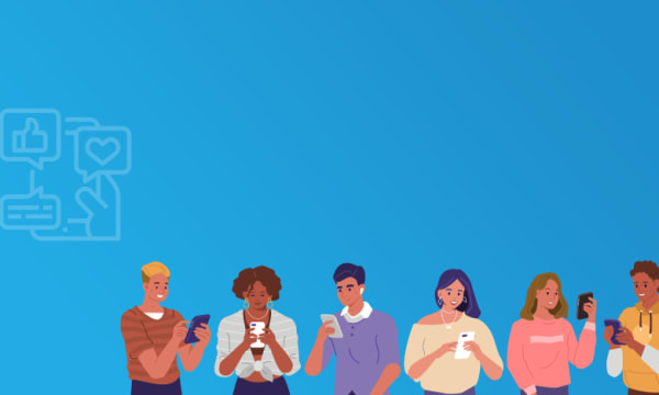 silhouettes of people holding mobile phones on blue background