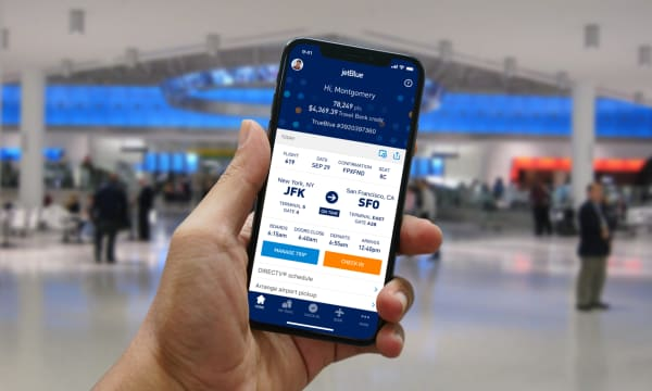 mobile screen showing Jet Blue travel app