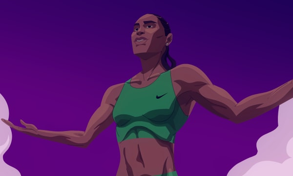 Woman athlete for Nike painted in comic style