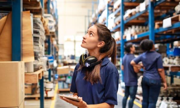 logistics warehouse people at work