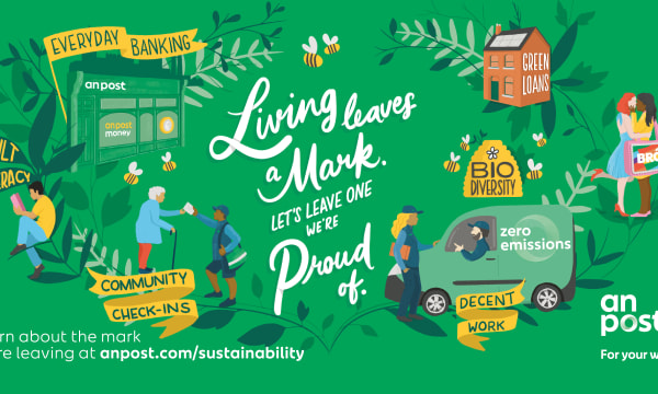 green background and 'living leaves a mark' text
