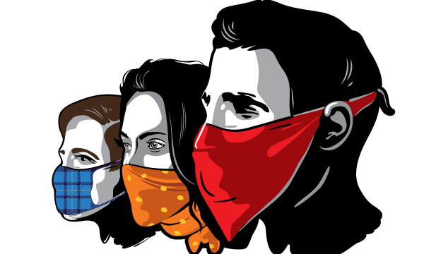 three faces all with masks