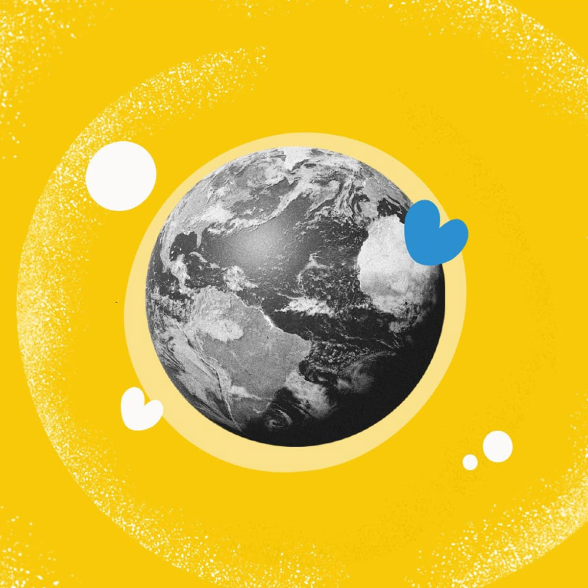 planet earth on yellow background