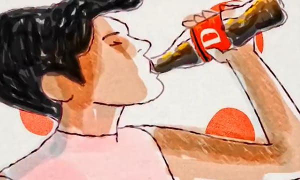 drawing of a woman drinking a Coke