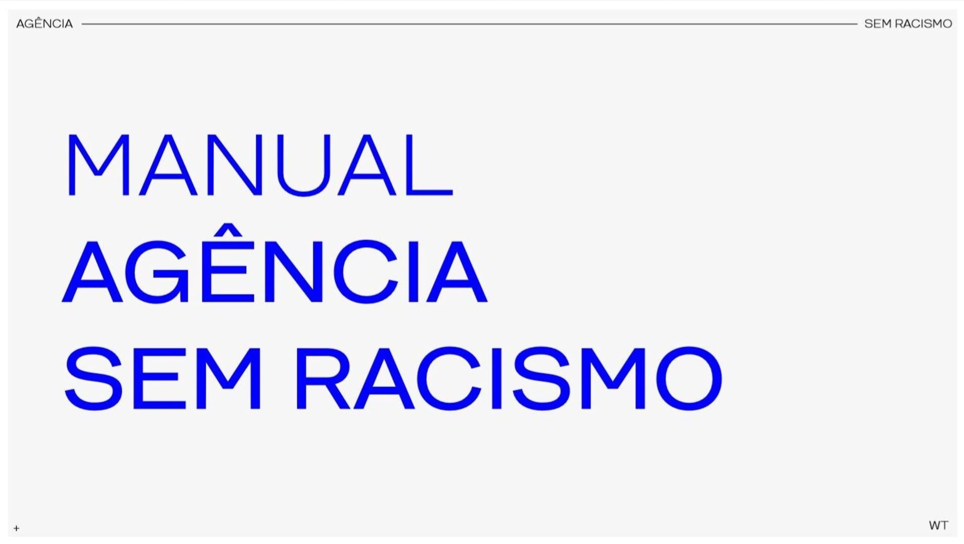 Capa Manual Agência Sem Racismo, fundo cinza com letras azuis