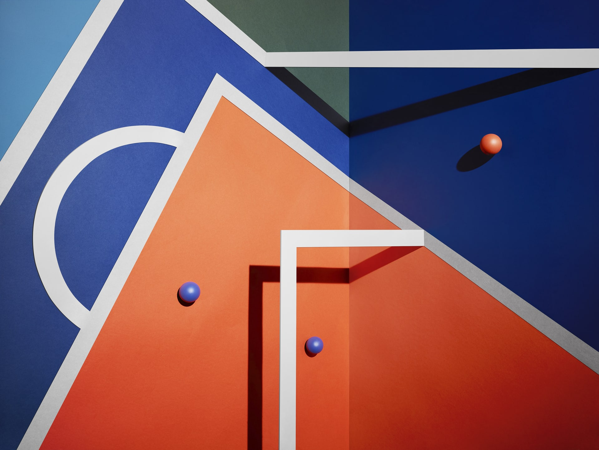 coloured painted wall in red and blue