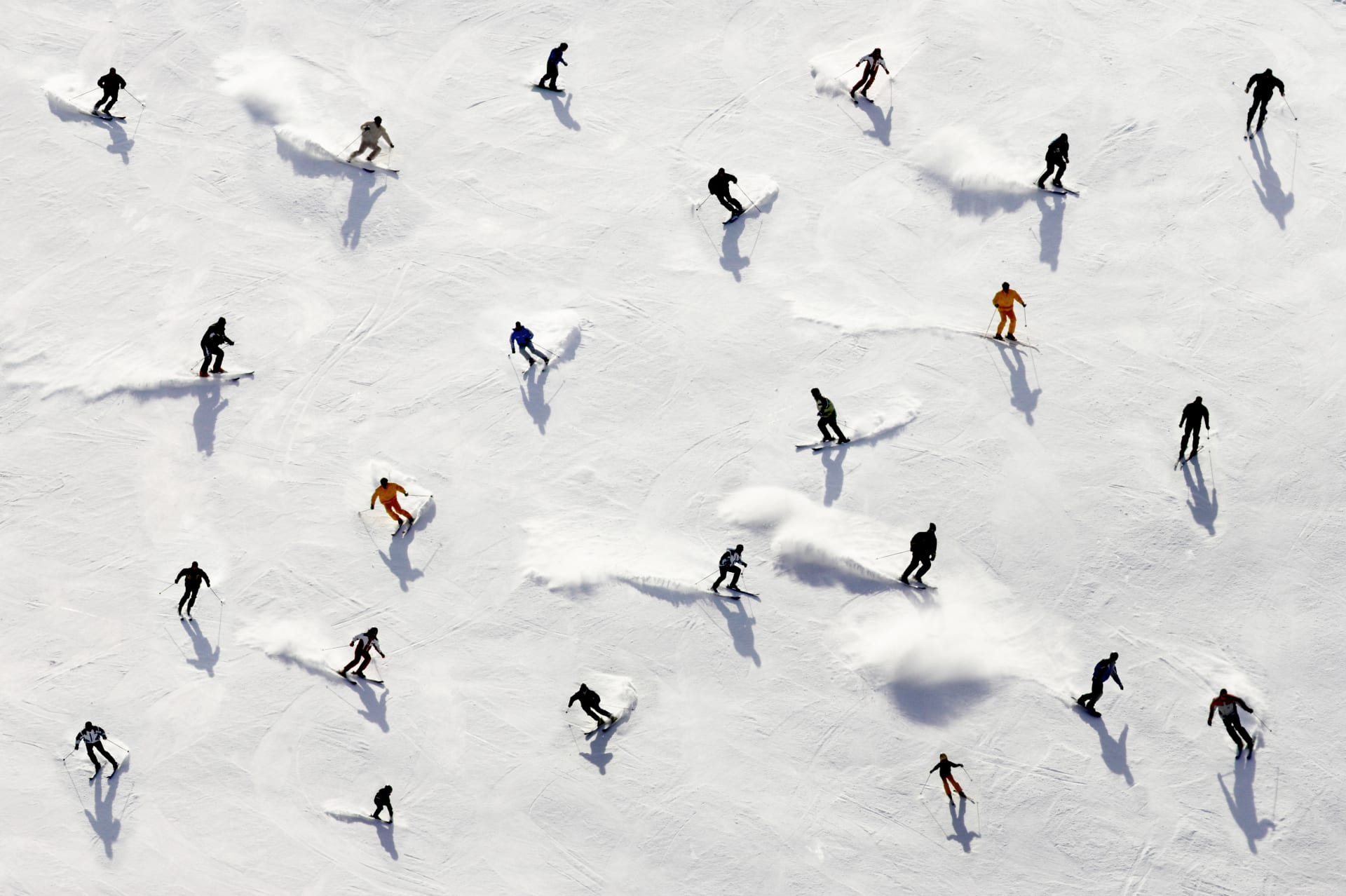 skiing slope with lots of people