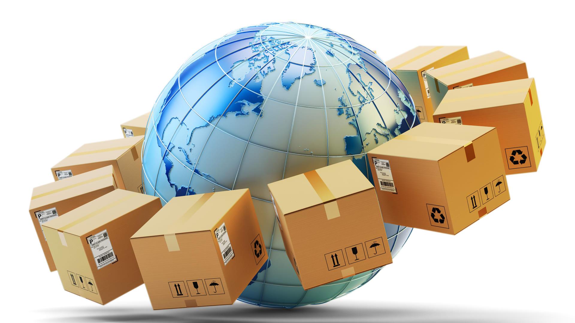 Amazon boxes surrounding globe