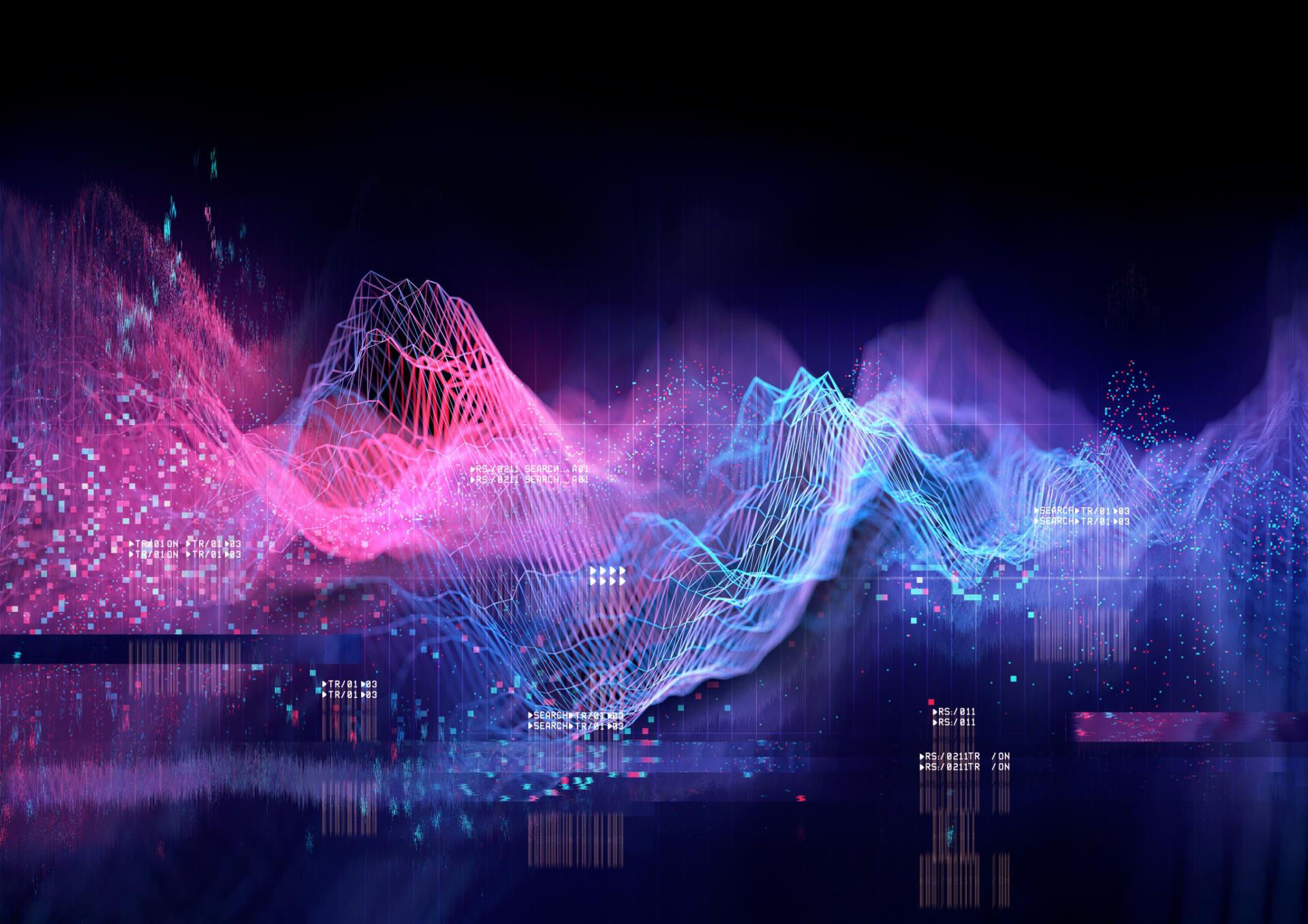 virtual mountain scenery on screen