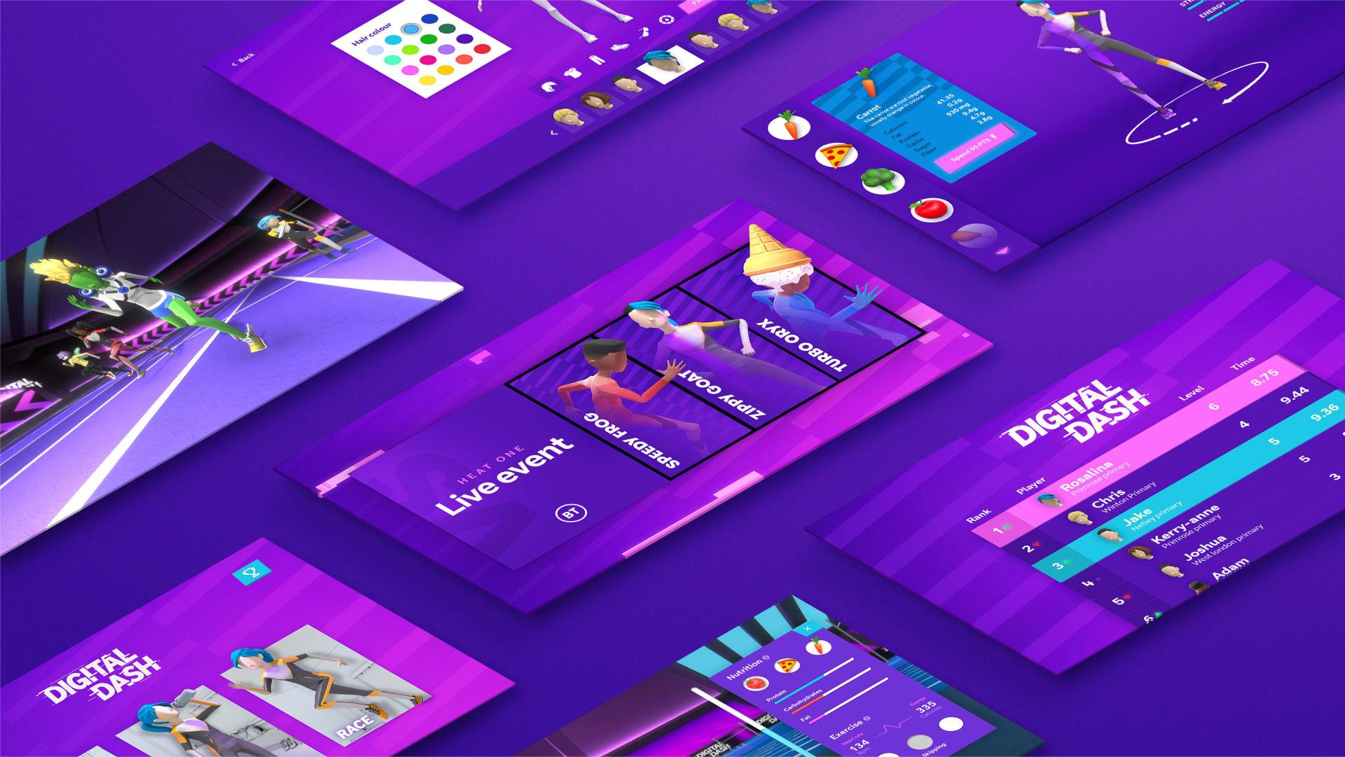 lots of monitors on purple background