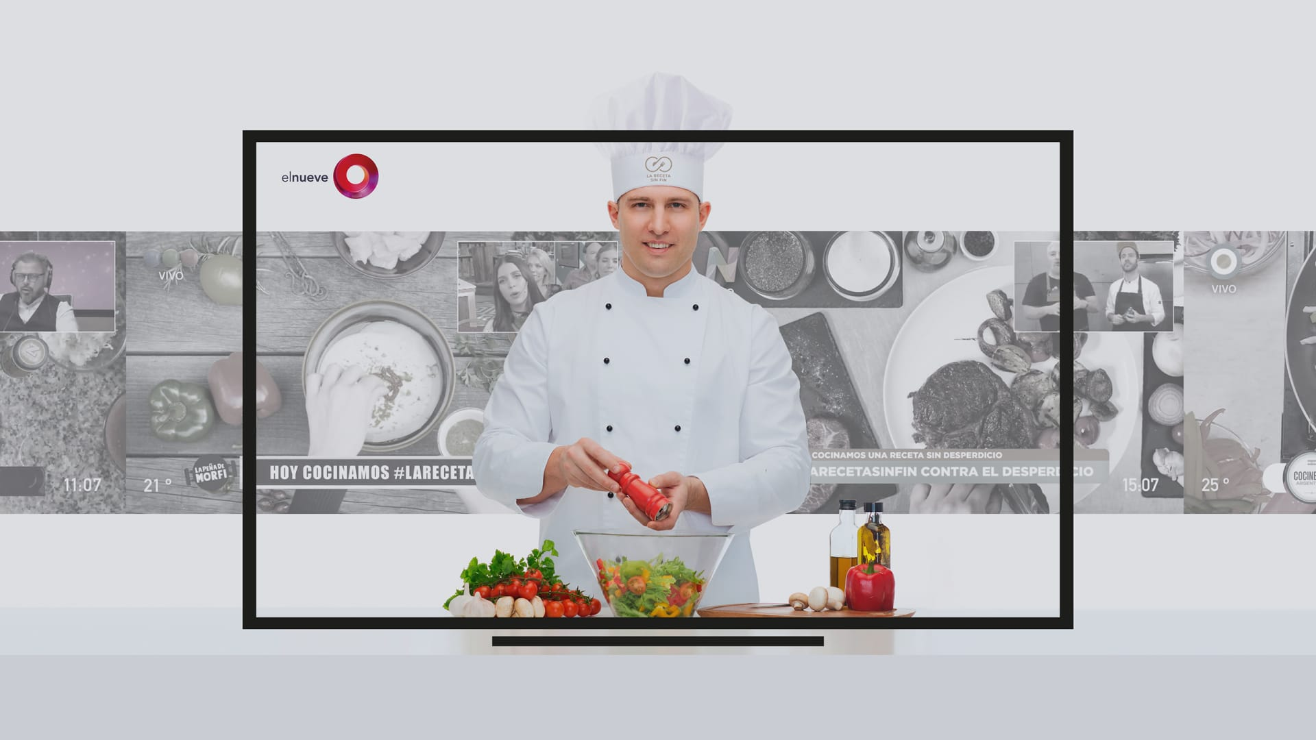 showing cook in the kitchen