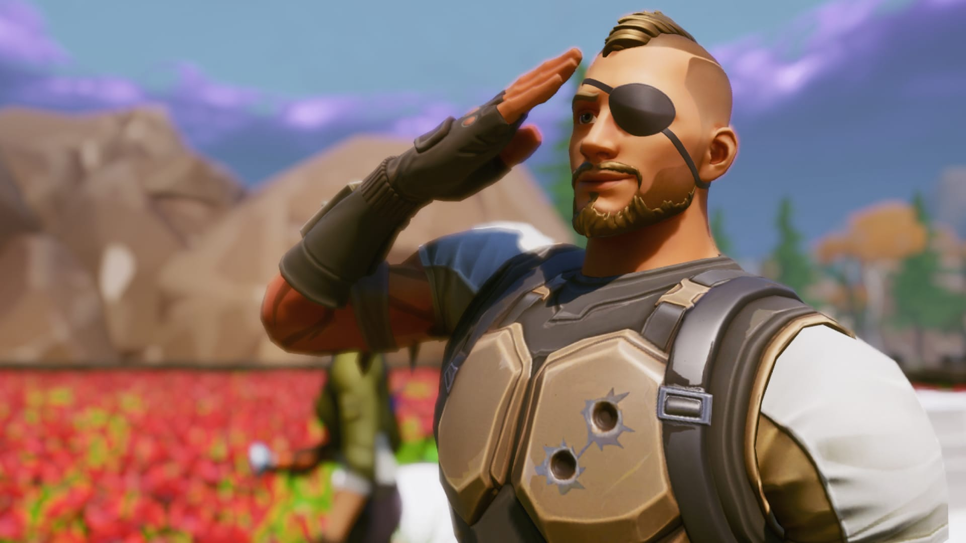 Animated solider with eye patch saluting in front of a field of blurred out poppies.