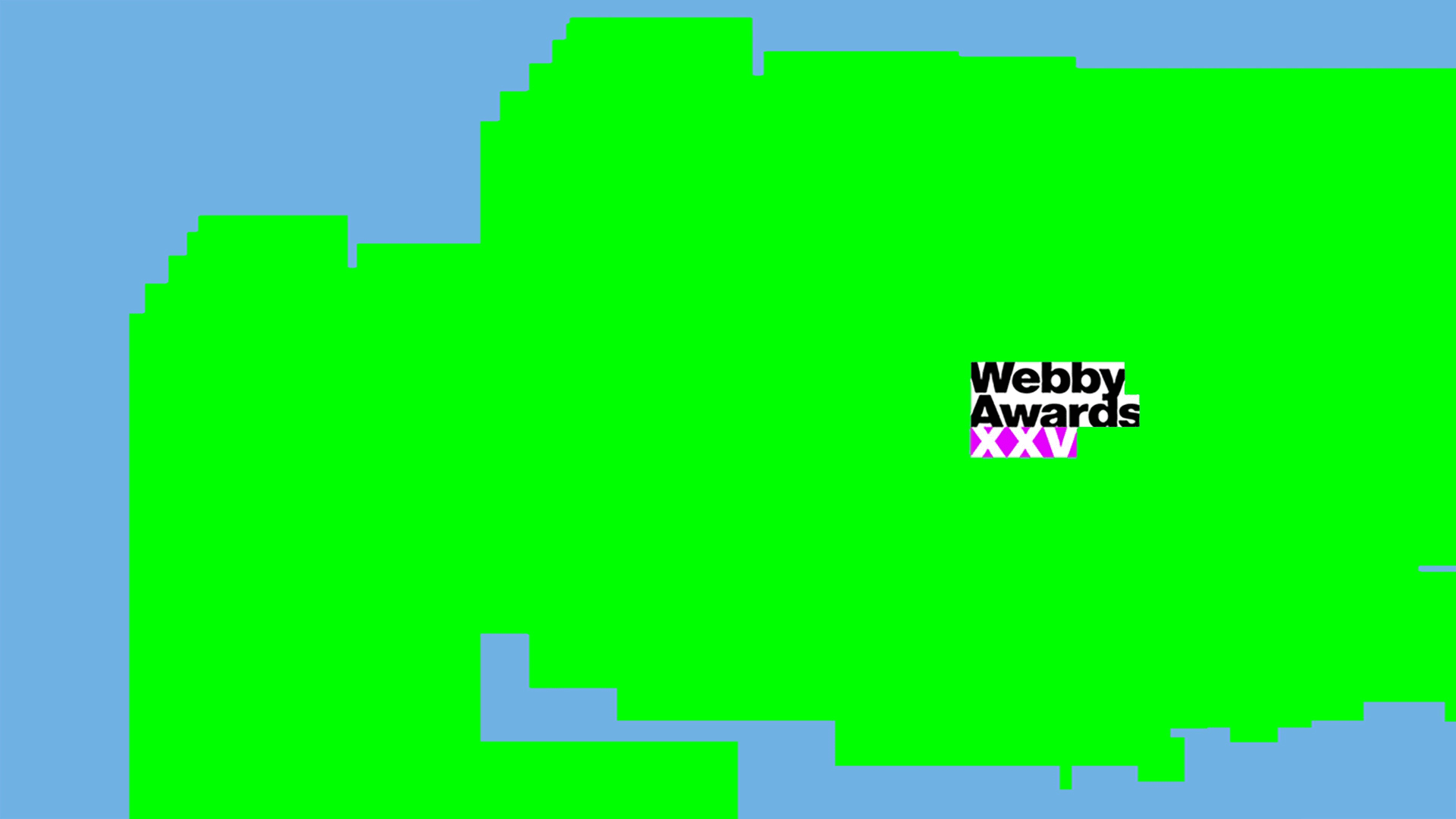 neon green background with Webby Awards signage