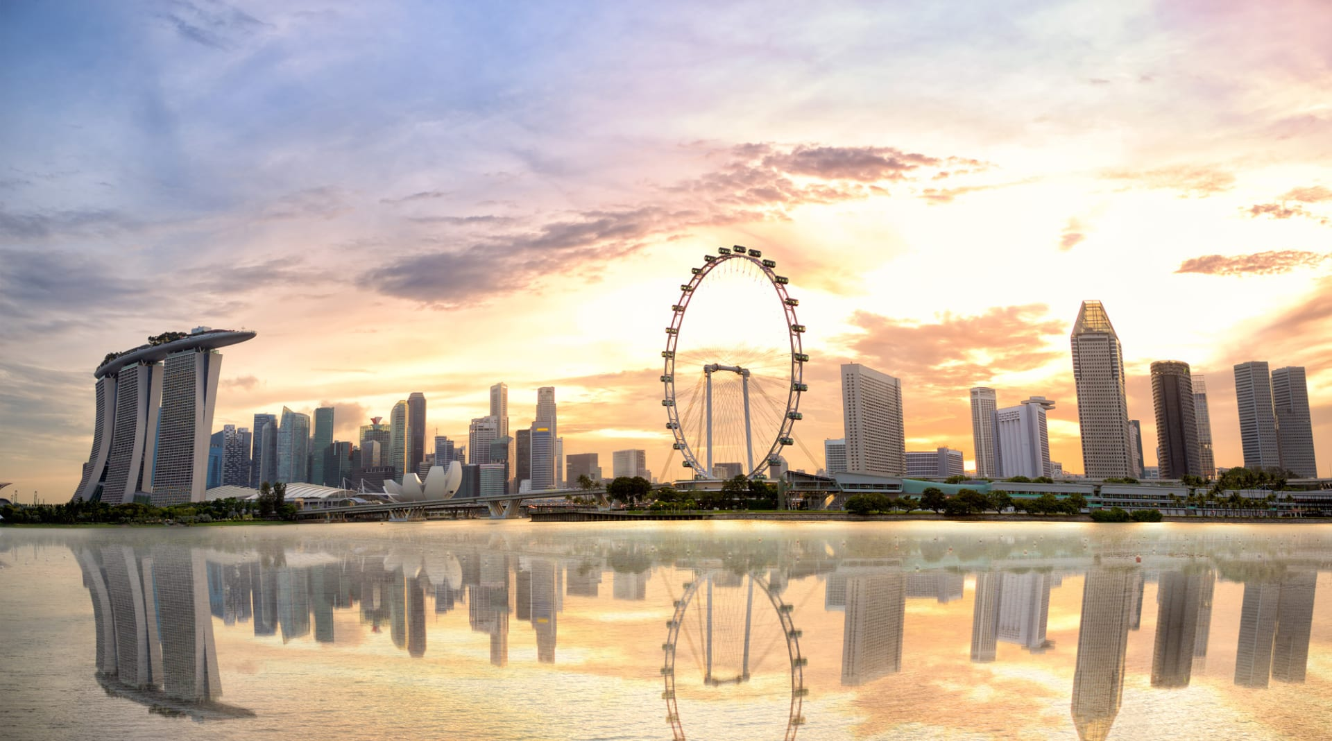 Singapore skyline at sunset CKLGWB9 low