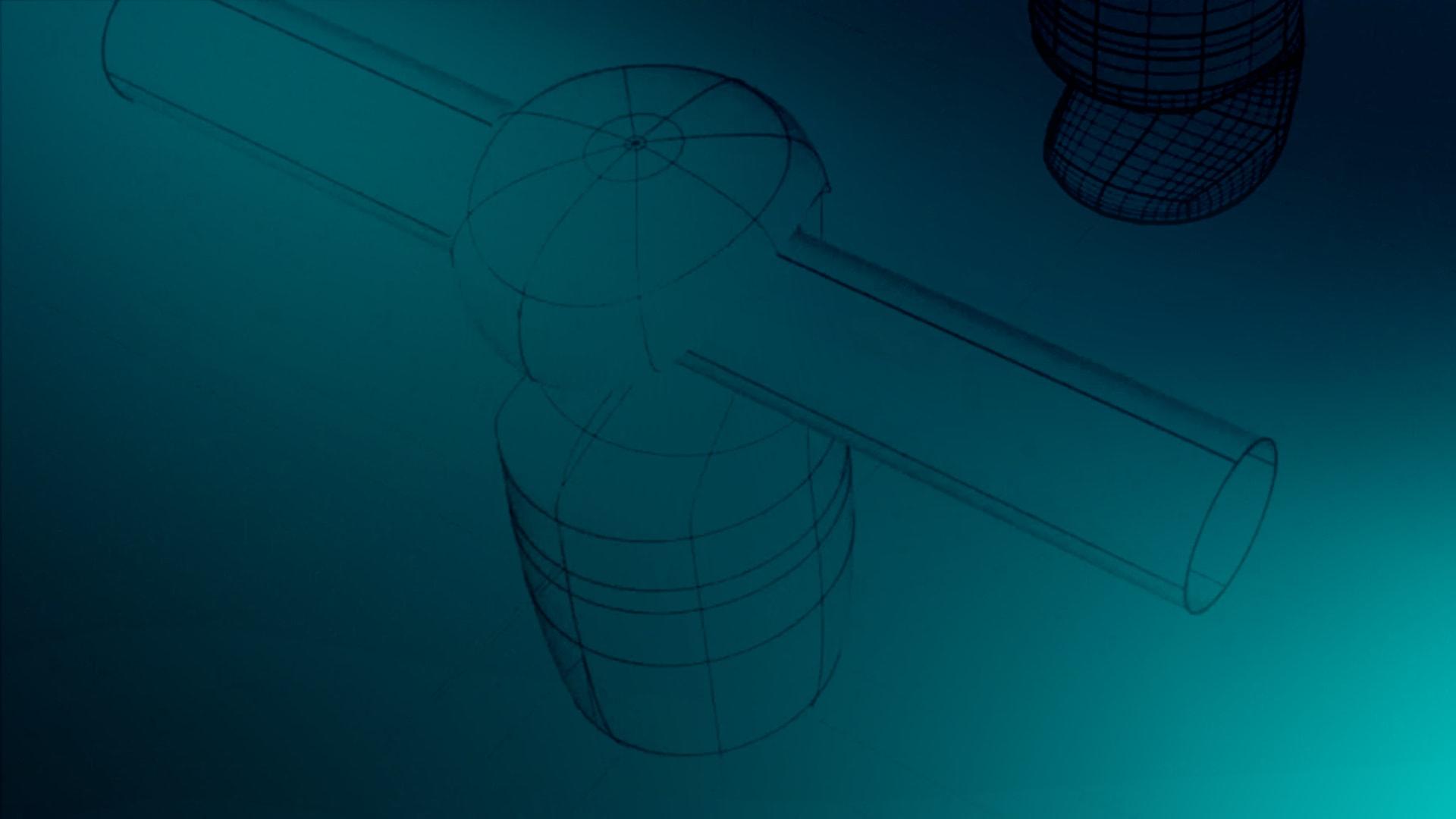 engeneering drawing on tourquoise background
