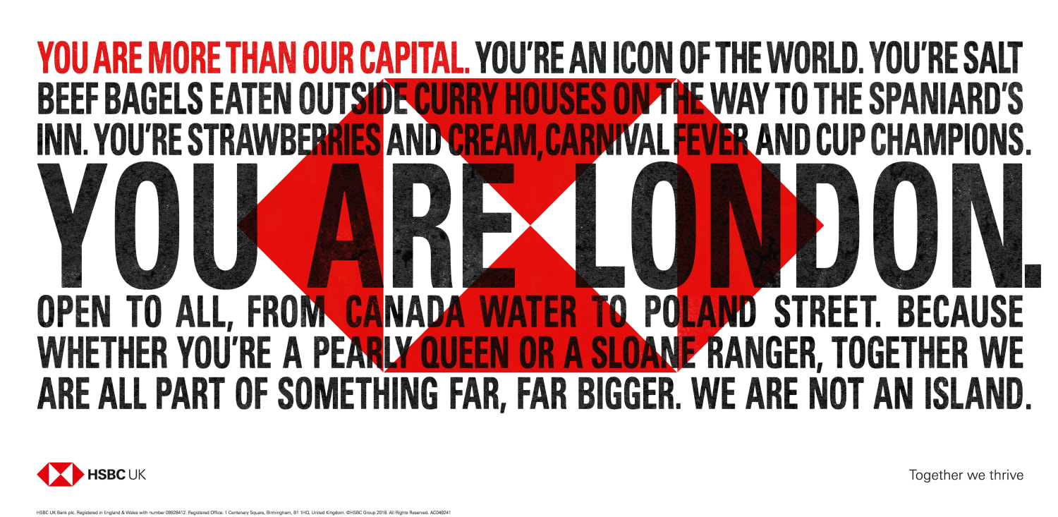 London HSBC We Are Not An Island London