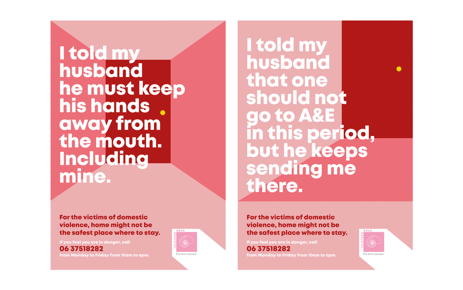 I told my husband ... phrases on red and rose background for Telefono Rosa campaign