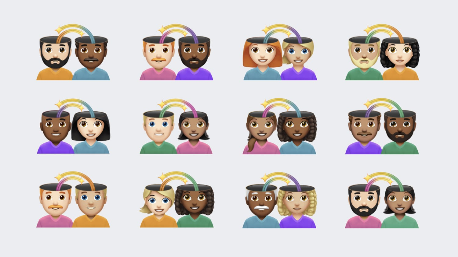 White background with emojis of various couples.  Tops of heads are missing and you see arrows into each others brains.