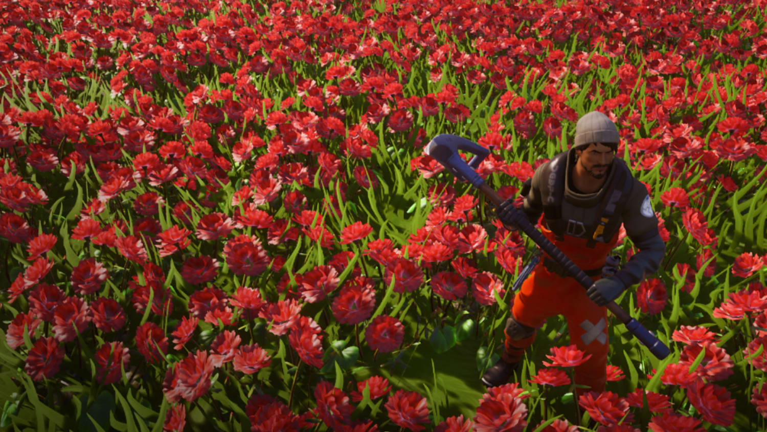 Animation shot of field of poppies with a solider standing in it.