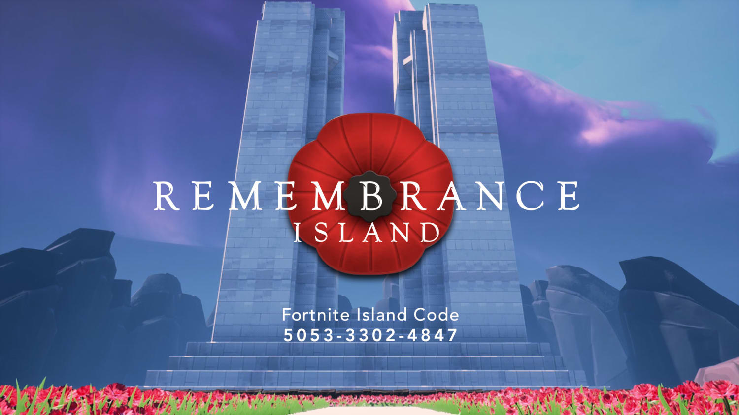 Animated image of a monument with a large poppy in the middle of it. Rememberance Island scrolled across it in white font.