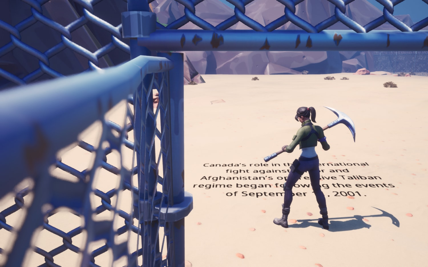 Animated image of a metal gate with door open. Women in the door holding a pick axe. Black writing scrolled underneath her.