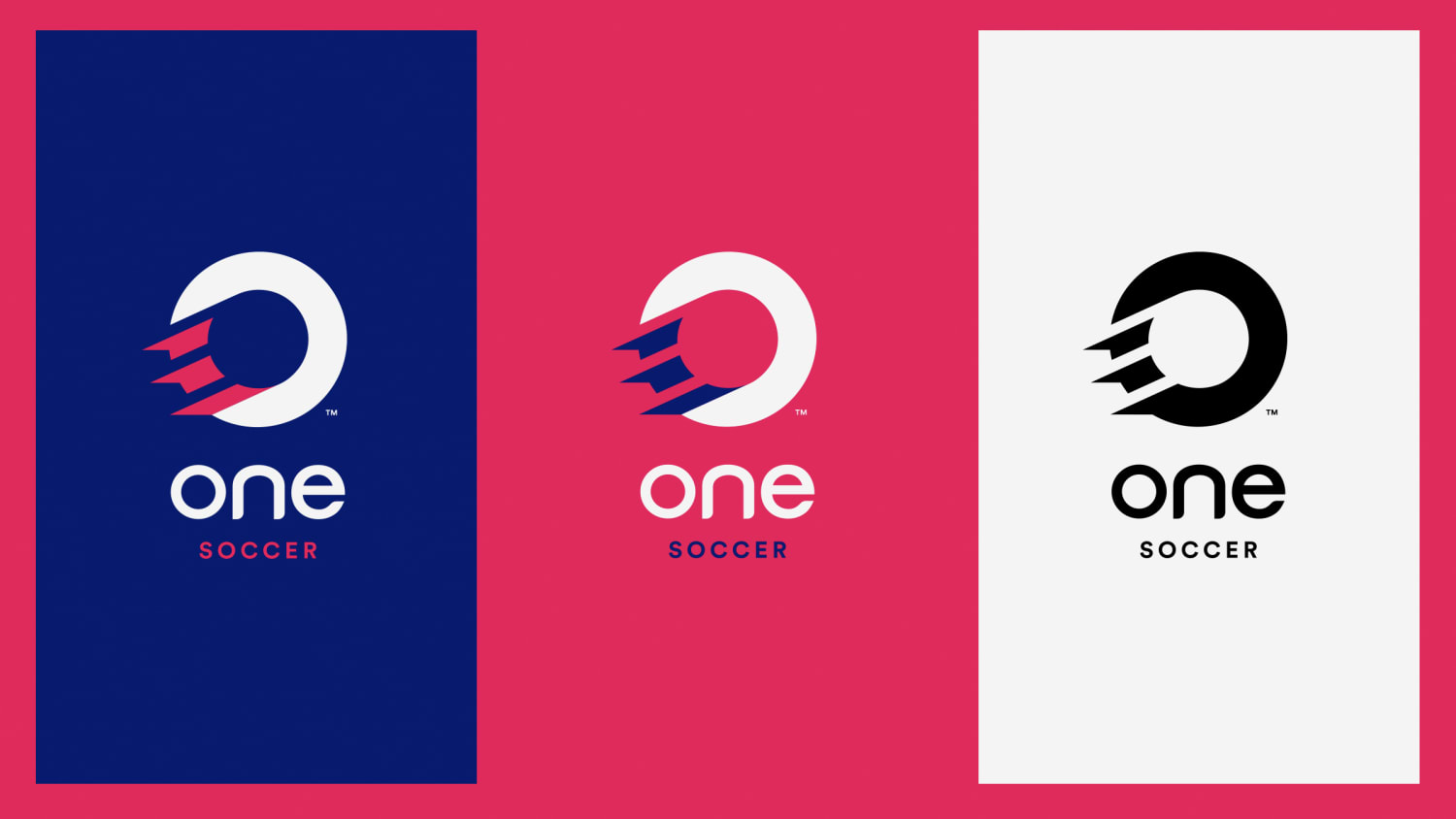 One Soccer Logo. Background hot pink. Left image in blue, middle hot pin, right image in white