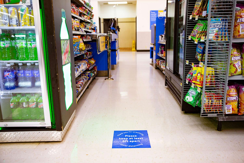WEB social distancing signage at checkout